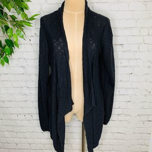 Eileen Fisher Black Open Front Draped Cardigan LG